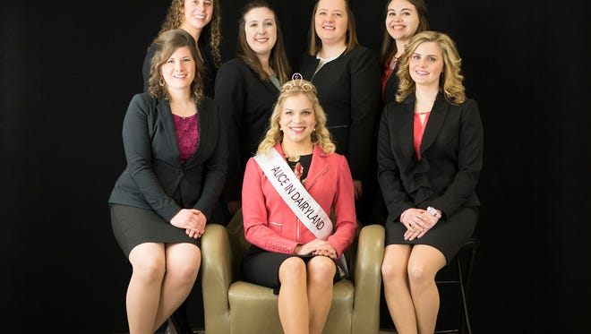 """Six top candidates for the 71st Alice in Dairyland were announced at a March 14 press conference at Heartland Farms in Adams County, a key step in the selection of Wisconsin's next """"agricultural ambassador."""" Joining reigning Alice in Dairyland Crystal Siemers-Peterman (center) are (from left) Kaitlyn Riley, Sydney Endres, Megan Schulte, Kristen Broege, Alexus Grossbier and Jacqueline Hilliard."""