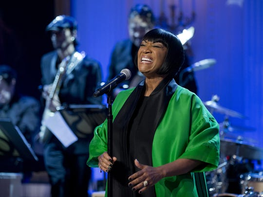 "Patti LaBelle, pictured during ""In Performance at the White House: Women of Soul"" in the East Room of the White House in Washington, D.C. in 2014, hosted by President Barack Obama, and first lady Michelle Obama."
