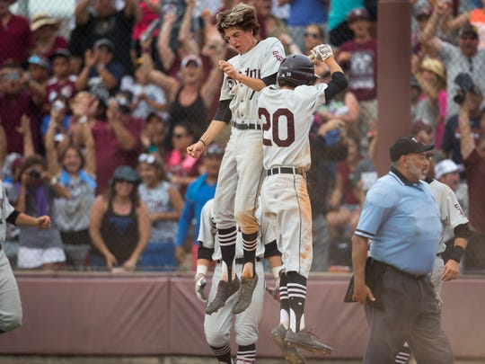 Sinton's Jonathan Carrillo celebrates after scoring in the seventh inning of game 3 the Class 4A regional final series at Steve Chapman Field on Saturday, June 3, 2017.
