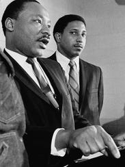 In this Jan. 16, 1968 file photo, Dr. Martin Luther