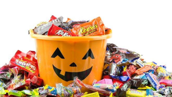 Skittles, Nerds, Kit Kat, Reeses, Twizzlers, Gobstoppers, Nestle Crunch bars and other candies pile up around Halloween.