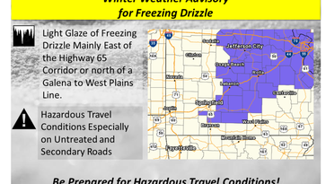 NWS warns of freezing drizzle on roads