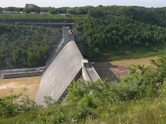 The massive Mt. Morris Dam located on the Genesee River