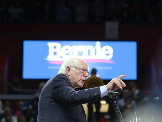 Bernie Sanders speaks at a rally at Rutgers Athletic