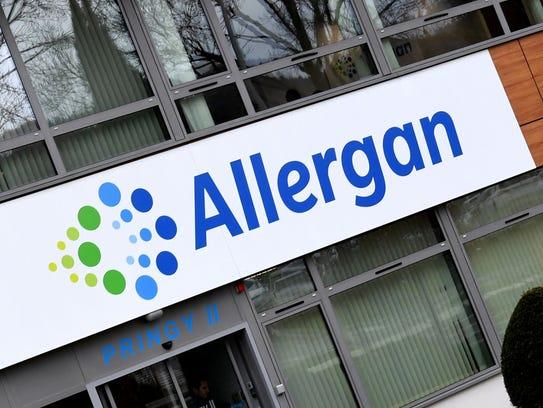 A photo taken on November 7, 2017 shows the Allergan