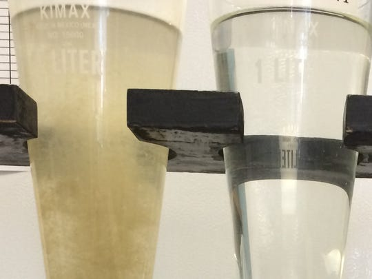 Before and after: The City of Montpelier Wastewater Treatment Plant displays water samples on Jan. 13, 2014.