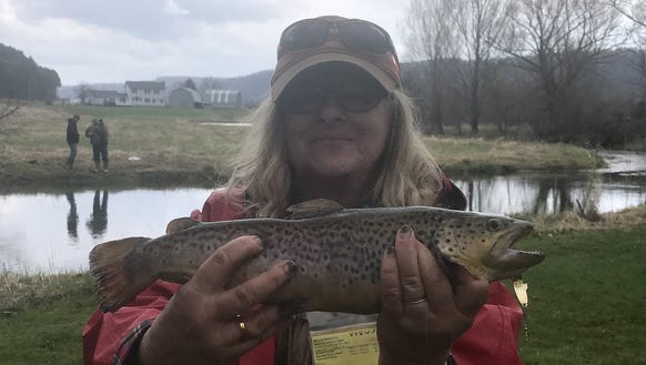 Carol landed this hefty trout Saturday from the Conhocton