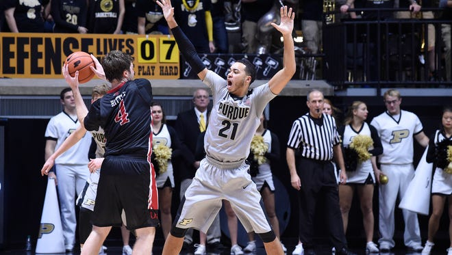 Purdue guard Kendall Stephens (21) defends against Incarnate Word forward Kyle Hittle (4) in the second half of a 96-61 Boilermaker victory at Mackey Arena on Nov. 18.