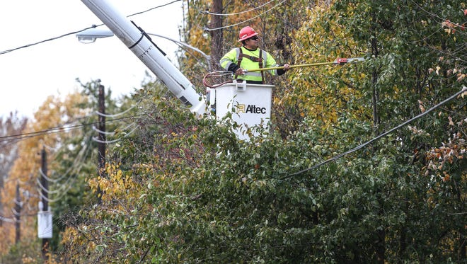 Gregorio Guiterrez, with Nelson Tree Service, trims tree limbs away from utility lines on Bruns Drive for LG&E. November 8, 2017