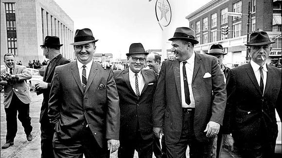 In 1967, Edgar Ray Killen went on trial for federal conspiracy charges with Neshoba County Deputy Cecil Price (left) and Sheriff Lawrence Rainey (right). Only Price was convicted.