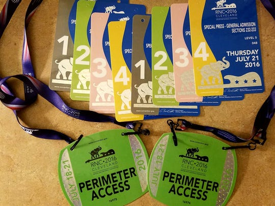 Media credentials at the RNC obtained by members of the Flushing High School newspaper staff.