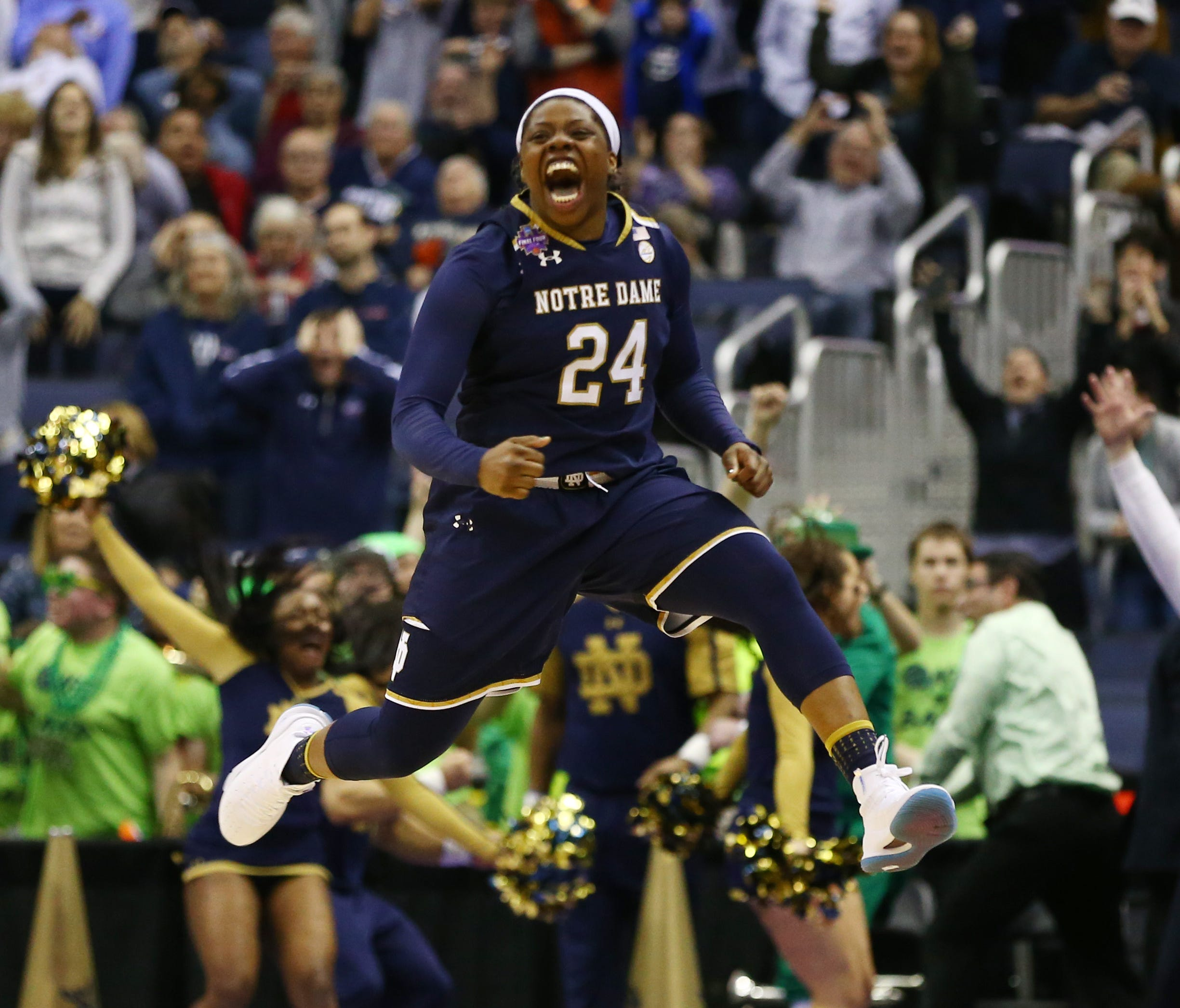 Notre Dame Fighting Irish guard Arike Ogunbowale reacts after hitting the game winning shot against the Connecticut Huskies in overtime in the semifinals of the women's Final Four in the 2018 NCAA Tournament at Nationwide Arena.