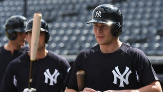 New York Yankees infielder Brandon Drury (29) during batting practice at George M. Steinbrenner Field.