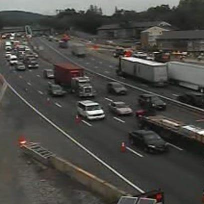 New York State Thruway traffic backs up southbound