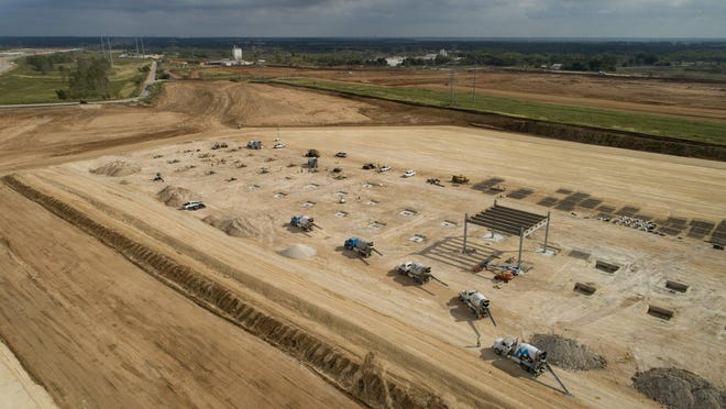 Work continues on the Tesla site at Texas 130 at Harold Green Road in southeastern Travis County. In addition to electric vehicles, Tesla plans to produce battery cells at the site, according to documents filed with the state.
