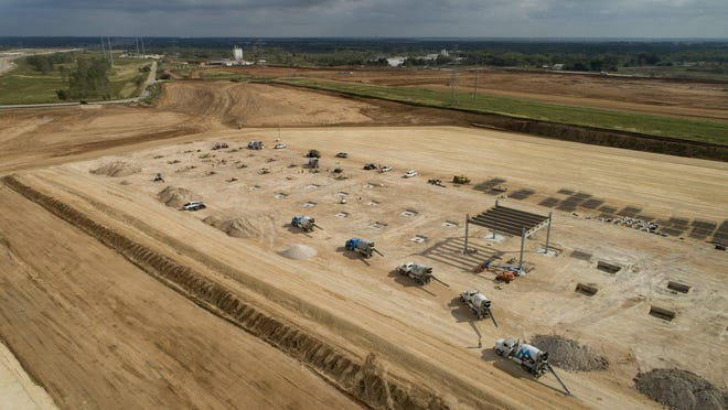 Work continues at the Tesla site at Texas 130 and Harold Greene Road in southeastern Travis County. CEO Elon Musk said the factory could start delivery of vehicles in a limited capacity as early as next year.