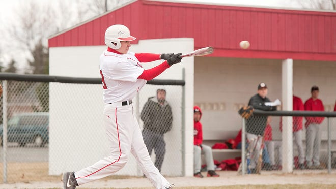 Bucyrus' Keegan Simms connects with the ball during a game Tuesday afternoon against Crestview.