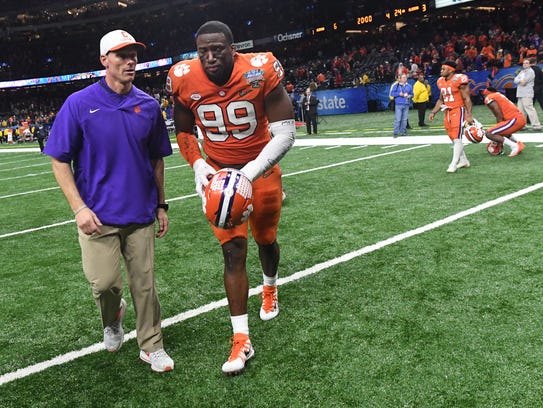 Clemson defensive coordinator Brent Venables and defensive