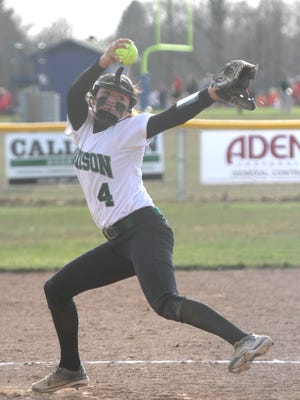 Madison's Sloan Kiser winds up her pitch while at Ontario earlier in the season.