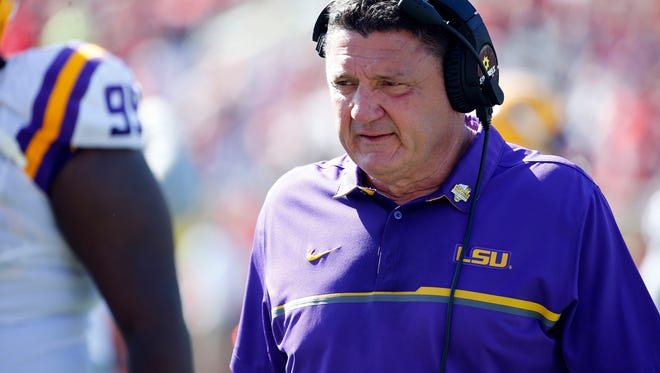 Dec 31, 2016; Orlando, FL, USA;LSU Tigers head coach Ed Orgeron during the second half against the Louisville Cardinals at Camping World Stadium. LSU Tigers defeated the Louisville Cardinals 29-9. Mandatory Credit: Kim Klement-USA TODAY Sports