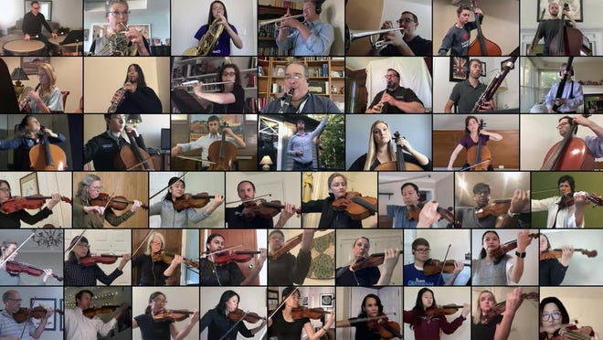 Several members of the Providence Medical Orchestra are involved in a new musical project -- the first ever National Virtual Medical Orchestra -- headed by Providence Medical Orchestra conductor John Masko, center.