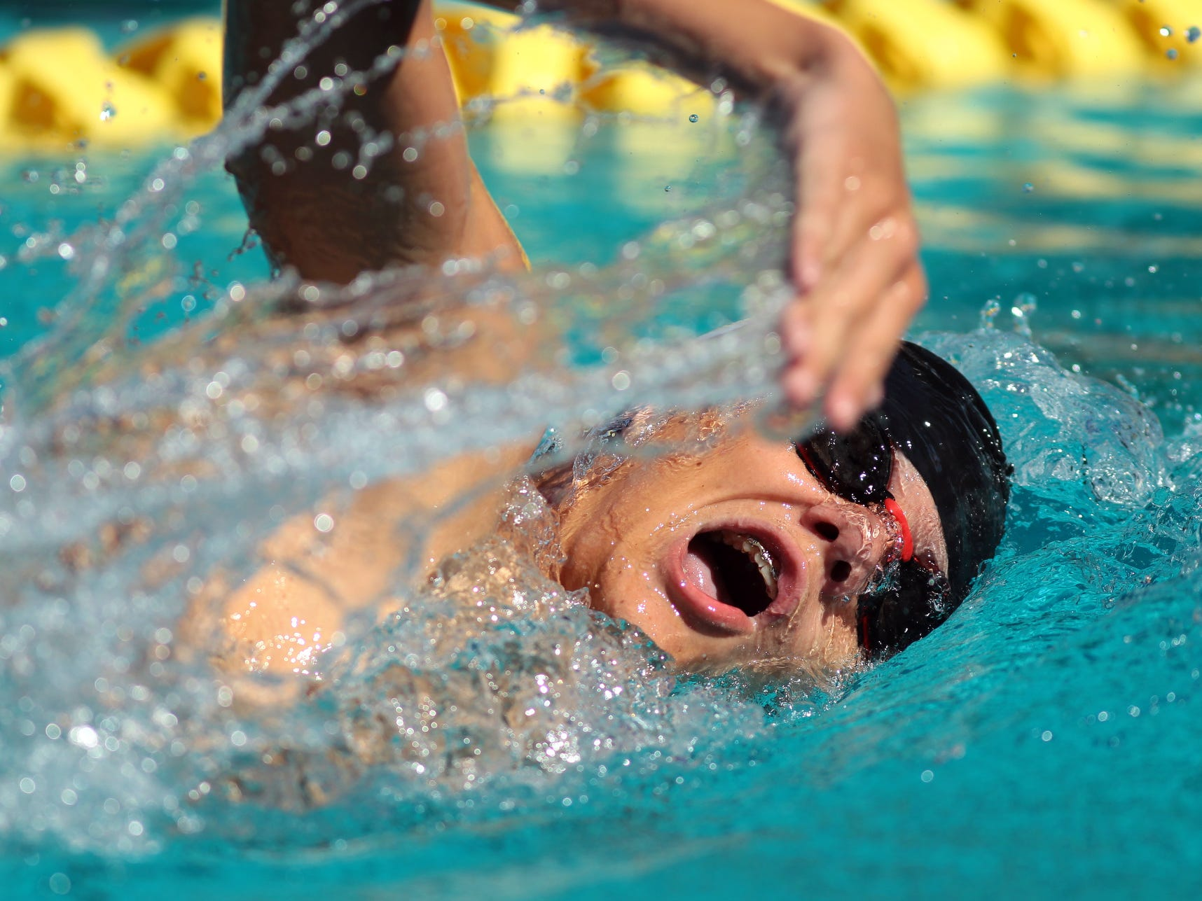 Palm Springs' Thomas Forest swims the 200 free during a high school swim meet at home against La Quinta on Thursday.