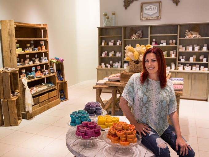 Deanna Renda in her Naples Soap Company store at the