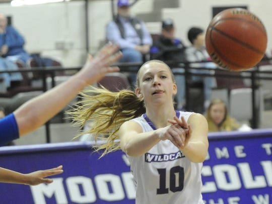 ACU's Breanna Wright, right, passes the ball while