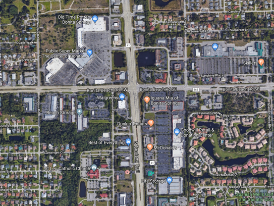 A satellite view of Bonita Beach Road and U.S. 41.