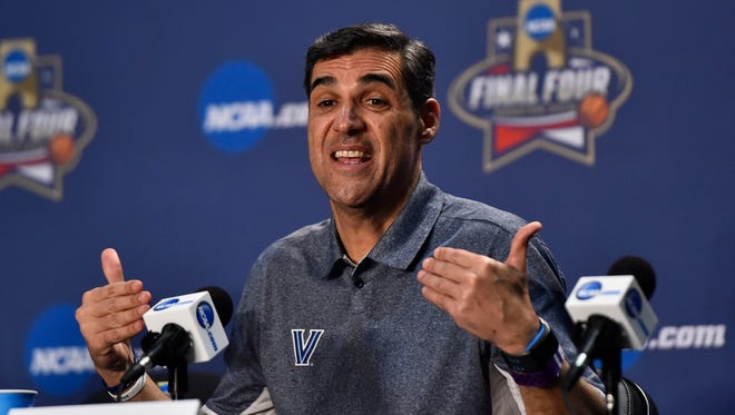 Villanova Wildcats head coach Jay Wright speaks to media during a press conference at NRG Stadium.
