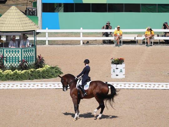 Laura Graves rides Verdades during dressage individual