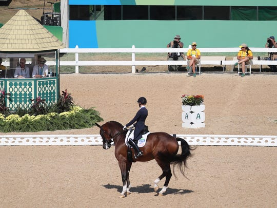 Laura Graves rides Verdades during dressage individual grand prix freestyle competition in the Rio 2016 Summer Olympic Games at Olympic Equestrian Centre in Rio de Janeiro.