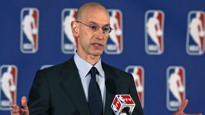 NBA Commissioner Adam Silver addresses the media during a news conference in New York, Tuesday, April 29, 2014. Silver announced that Los Angeles Clippers owner Donald Sterling has been banned for life by the league.