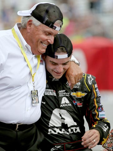 Team owner Rick Hendrick and Jeff Gordon celebrate