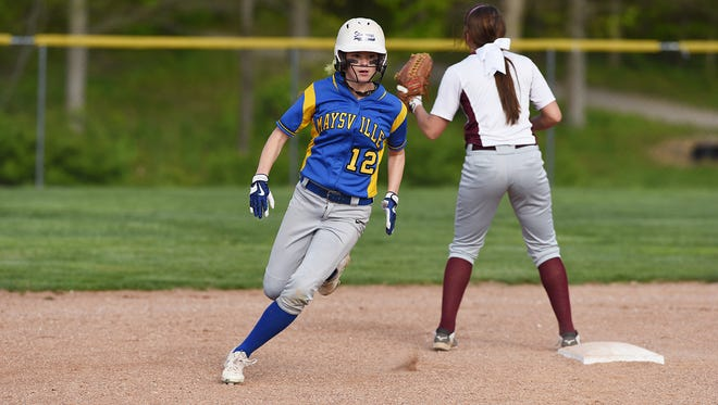 Maysville's Hallie Bennett rounds second base during a regular season win against John Glenn. Bennett, the lead-off hitter, is one of eight starters due to return from the Panthers' regional final team.