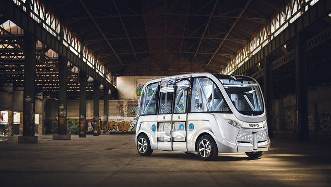 A vehicle similar to a driverless shuttle that started running Las Vegas this week.