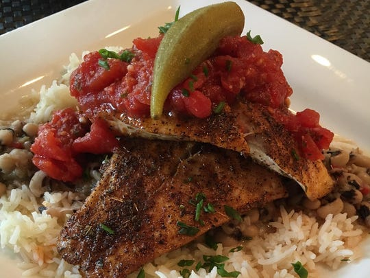 Grilled redfish with hoppin john and basmati rice.