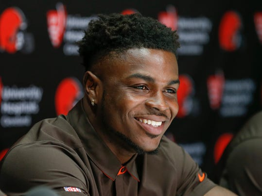 Cleveland Browns' Jabrill Peppers, selected 25th overall in the NFL draft, answers a question during a news conference at the footall team's training facility, Friday, April 28, 2017, in Berea, Ohio. Peppers played defensive back at Michigan. (AP Photo/Ron Schwane)