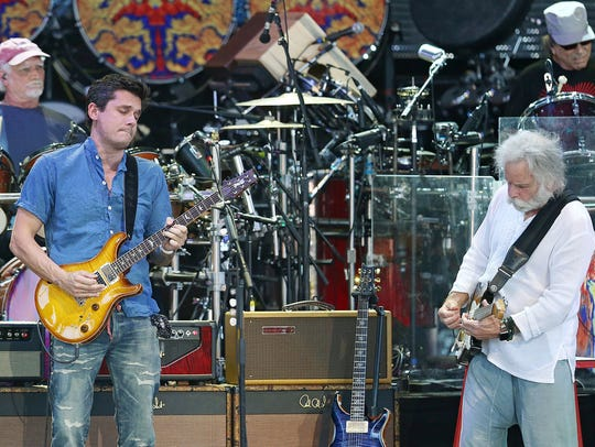 Bill Kreutzmann (from left), John Mayer, Bob Weir and