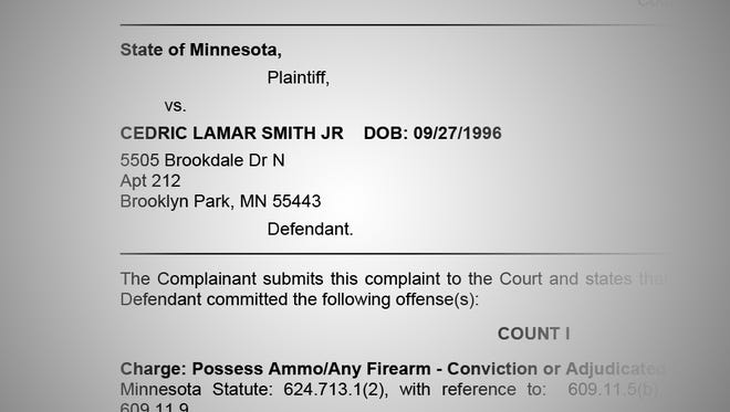 A composite of a screenshot from the State of Minnesota vs. Cedric Lamar Smith Jr. complaint.