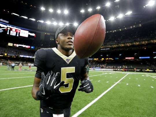 Oct 6, 2019; New Orleans, LA, USA; New Orleans Saints quarterback Teddy Bridgewater (5) runs off the field following a  victory over the Tampa Bay Buccaneers at the Mercedes-Benz Superdome. Mandatory Credit: Derick E. Hingle-USA TODAY Sports