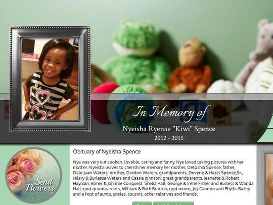 An image of Nyeisha Spence's online obituary notice.