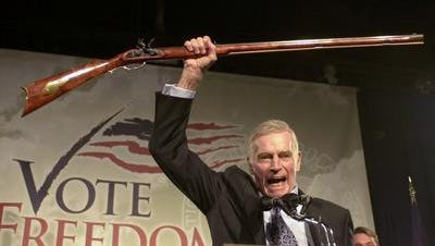 Charlton Heston, as president of the National Rifle Association in 2002, voiced displeasure with the nation's 20,000 gun laws