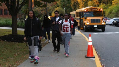 Students enter Nyack High School at approximately 7:15 a.m Oct. 10, 2014 and the first bell is at 7:30 a.m. Nyack is one of the earliest starting districts in the area.