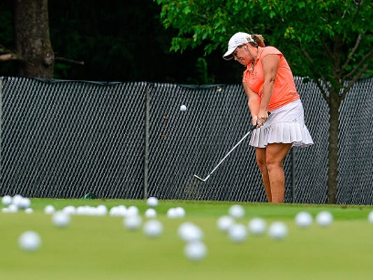 Stephanie Connelly of Florida practices her chip shot at Lancaster Country Club for the upcoming US Women's Open Championship, Sunday July 5, 2015. Connelly's parents lived in York for about a year before moving to Florida.   John A. Pavoncello - jpavoncello@yorkdispatch.com