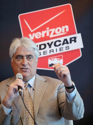 Mark Miles, CEO, Hulman & Co., takes questions during the IndyCar Series media day Tuesday, Feb. 17, 2015, morning at the Indianapolis Motor Speedway.