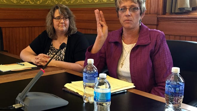 Ann Davison, right, a nurse at the Clarinda Mental Health Institute, speaks to the Iowa Senate Government Oversight Committee on Wednesday. She and Sue Rehwaldt-Hay, at left, an occupational therapist at the Clarinda MHI, both defended care provided for patients at the state-run facility and told lawmakers the mental health services are needed in southwest Iowa.