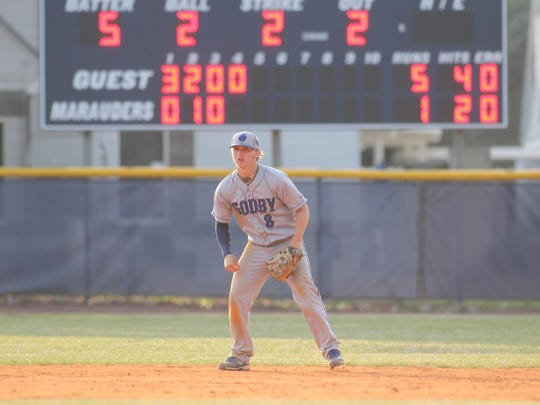 Godby junior Logan Lacey is having a standout season at the plate and pitching.
