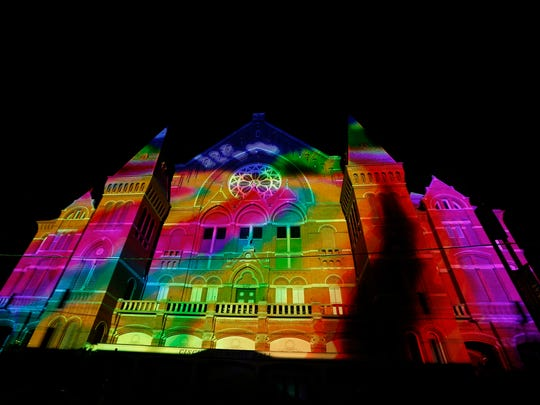 Music Hall was adorned with a light show a part of