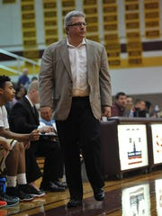 Now-former Sea Gulls' head coach Andy Sachs watches as his team battles with Southern Virginia on Jan. 16, 2016.